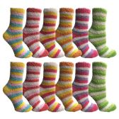 excell Womens Butter Soft Striped Fuzzy Socks With Gripper Bottom (Rainbow 12 Pack, 9-11)GǪ - Womens Fuzzy Socks