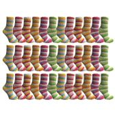 excell Womens Butter Soft Striped Fuzzy Socks With Gripper Bottom (Rainbow 36 Pack, 9-11) - Womens Fuzzy Socks