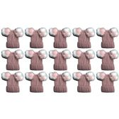 15 Units of Yacht & Smith Womens 3 Inch Double Pom Pom Ribbed Beanie Hat, Pink Value Pack - Fashion Winter Hats