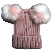 Yacht & Smith Womens 3 Inch Double Pom Pom Ribbed Beanie Hat, Pink - Fashion Winter Hats