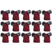 15 Units of Yacht & Smith Womens 3 Inch Double Pom Pom Ribbed Beanie Hat, Wine Value Pack - Fashion Winter Hats