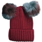 Womens Warm Double Pom Pom Winter Beanie Hat Multi Color Pom Pom  (1 piece Wine) - Fashion Winter Hats