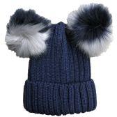 Womens Warm Double Pom Pom Winter Beanie Hat Multi Color Pom Pom  (1 Piece Navy) - Fashion Winter Hats