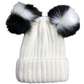 Womens Warm Double Pom Pom Winter Beanie Hat Multi Color Pom Pom (1 Piece Cream) - Fashion Winter Hats