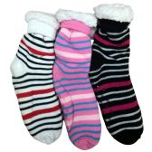 Prestige Edge 3 Pairs of Sherpa Fleece Lined Slipper Socks, Gripper Bottoms, Best Warm Winter Gift (Assorted G) - Womens Sherpa Socks