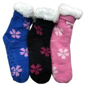 Prestige Edge 3 Pairs of Sherpa Fleece Lined Slipper Socks, Gripper Bottoms, Best Warm Winter Gift (Assorted D) - Womens Sherpa Socks