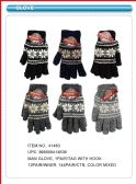 144 Units of Mens Winter Gloves Snowflake Design - Knitted Stretch Gloves
