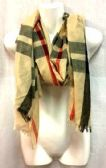 24 Units of Wholesale Scarf with Tan Color Plaid Print - Womens Fashion Scarves