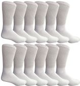 12 Units of 12 Pair King Size Mens Diabetic Crew Socks, Loose Fit Top Soft Cotton (White, King 13-16) - Big And Tall Mens Diabetic Socks