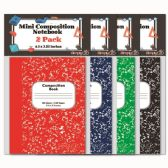 144 Units of Mini Composition Book Two Pack Eighty Pages Assorted Colors - Notebooks