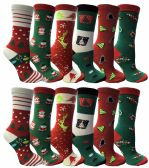 12 Pairs of Christmas Printed Socks, Fun Colorful Festive, Crew, Knee High, Fuzzy, Or Slipper Sock by WSD (Size 9-11) - Store