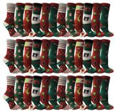 36 Pairs of Christmas Printed Socks, Fun Colorful Festive, Crew, Knee High, Fuzzy, Or Slipper Sock by WSD (Size 9-11) - Store