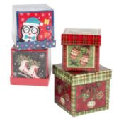 24 Units of Gift Box 2pk Trinket/jewelry Sq 2.75x2.25in 3asst Prints Shrink/label - Christmas Gift Bags and Boxes