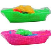 """36 Units of 7"""" BEACH TOY BOAT W/ACSS IN PEGABLE NET BAG, 2 ASSRT - Summer Toys"""