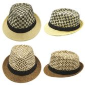48 Units of Mens Summer Fedora Hat - Fedoras, Driver Caps & Visor