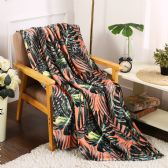 24 Units of Leaf Printed Fleece Blankets Size 50 x 60 - Fleece & Sherpa Blankets