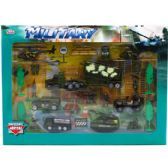 12 Units of DIECAST MILITARY PLAY SET IN WINDOW BOX - Cars, Planes, Trains & Bikes