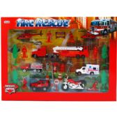 12 Units of DIECAST FIREFIGHTER PLAY SET IN WINDOW BOX - Cars, Planes, Trains & Bikes