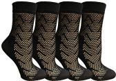 4 Pairs of Yacht&Smith Fisnet Ankle Socks, Mesh Patterned Anklet Sock (Pack C) - Womens Ankle Sock
