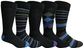 Yacht&Smith 5 Pairs of Mens Dress Socks, Colorful Fun Pattern Design, Casual (Assorted J) - Mens Dress Sock