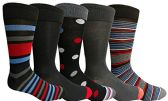 Yacht&Smith 5 Pairs of Mens Dress Socks, Colorful Fun Pattern Design, Casual (Assorted M) - Mens Dress Sock