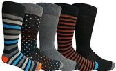 Yacht&Smith 5 Pairs of Mens Dress Socks, Colorful Fun Pattern Design, Casual (Assorted P) - Mens Dress Sock