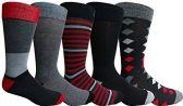 Yacht&Smith 5 Pairs of Mens Dress Socks, Colorful Fun Pattern Design, Casual (Assorted B) - Mens Dress Sock