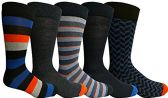 Yacht&Smith 5 Pairs of Mens Dress Socks, Colorful Fun Pattern Design, Casual (Assorted D) - Mens Dress Sock
