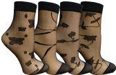 4 Pairs of Yacht&Smith Fisnet Ankle Socks, Mesh Patterned Anklet Sock (Pack E) - Womens Ankle Sock