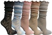 Yacht&Smith 5 Pairs Ruffle Slouch Socks for Women, Unique Frilly Cuff Fashion Trendy Ankle Socks (5 Pairs Sheer Top Ruffle) - Womens Ankle Sock
