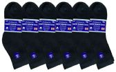 6 Units of 6 Pack of Womens Ring Spun Cotton Diabetic Neuropathy And Edema Ankle Socks (Black) - Women's Diabetic Socks