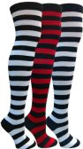 3 Units of Yacht&Smith Womens Over the Knee Socks, 3 Pairs Premium Soft, Chic Colorful Patterned (3 Pairs Striped (Black, Navy, Red)) - Womens Over the knee sock