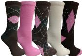 Yacht&Smith 5 Pairs of Womens Crew Socks, Fun Colorful Hip Patterned Everyday Sock (Assorted Argyle E) - Store