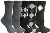 Yacht&Smith 5 Pairs of Womens Crew Socks, Fun Colorful Hip Patterned Everyday Sock (Assorted Argyle F) - Store