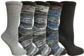 Yacht&Smith 5 Pairs of Womens Crew Socks, Fun Colorful Hip Patterned Everyday Sock (Space Dye F) - Store