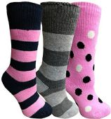 Yacht&Smith 3 Pairs Womens Brushed Socks, Warm Winter Thermal Crew Sock (3 Pairs Assorted A) - Womens Thermal Socks