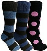 Yacht&Smith 3 Pairs Womens Brushed Socks, Warm Winter Thermal Crew Sock (3 Pairs Assorted C),One Size - Womens Thermal Socks