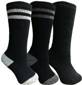 Yacht&Smith 3 Pairs Womens Brushed Socks, Warm Winter Thermal Crew Sock (3 Pairs Assorted D) - Womens Thermal Socks