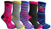 Yacht&Smith 5 Pairs of Womens Crew Socks, Fun Colorful Hip Patterned Everyday Sock (Color Prints H) - Store