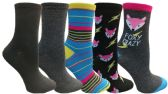 Yacht&Smith 5 Pairs of Womens Crew Socks, Fun Colorful Hip Patterned Everyday Sock (Color Prints L) - Store