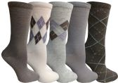 Yacht&Smith 5 Pairs of Womens Crew Socks, Fun Colorful Hip Patterned Everyday Sock (Assorted Argyle A) - Store