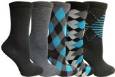 Yacht&Smith 5 Pairs of Womens Crew Socks, Fun Colorful Hip Patterned Everyday Sock (Assorted Argyle B) - Store