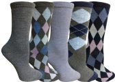 Yacht&Smith 5 Pairs of Womens Crew Socks, Fun Colorful Hip Patterned Everyday Sock (Assorted Argyle D) - Store