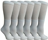 6 Units of Womens Anti-Microbial Crew Socks, Comfort Knit Ringspun Cotton, Terry Lined, Premium Soft (6 Pack White) - Womens Crew Sock