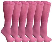 Womens Anti-Microbial Crew Socks, Comfort Knit Ringspun Cotton, Terry Lined, Premium Soft (6 Pack Pink) - Womens Crew Sock
