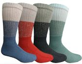 Mens Anti-Microbial Crew Socks, Comfort Knit Ringspun Cotton, Terry Lined (4 Pack) - Mens Crew Socks