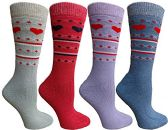 Womens Merino Wool Socks, Backpacking, Hiking, Lightweight Anti-Microbial 50% Premium Wool (4 Pairs Assorted) - Womens Thermal Socks