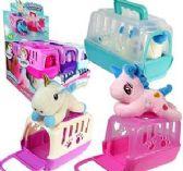 12 Units of Plush Velvet Unicorns in Carrier - Plush Toys