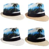 24 Units of Adult Printed Tropical Fedora Hat - Fedoras, Driver Caps & Visor