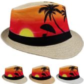 24 Units of Adult Printed Tropical Sunrise Fedora Hat - Fedoras, Driver Caps & Visor